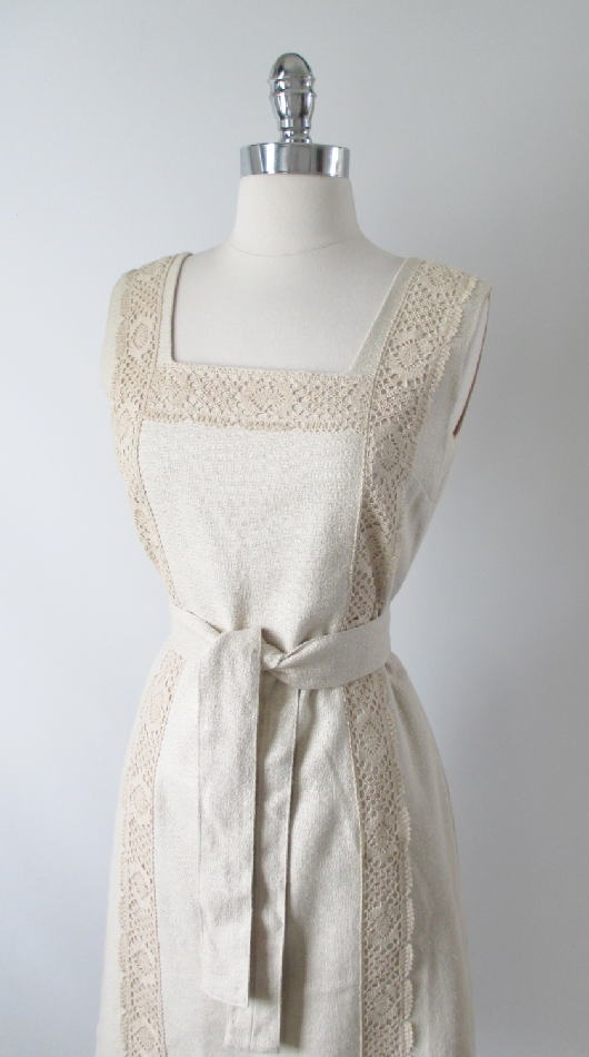 152eefb0a8 60 s vintage linen natural tweed crochet lace shift day dress bodice