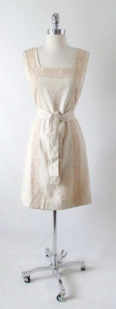60's vintage linen natural tweed crochet lace shift day dress gallery