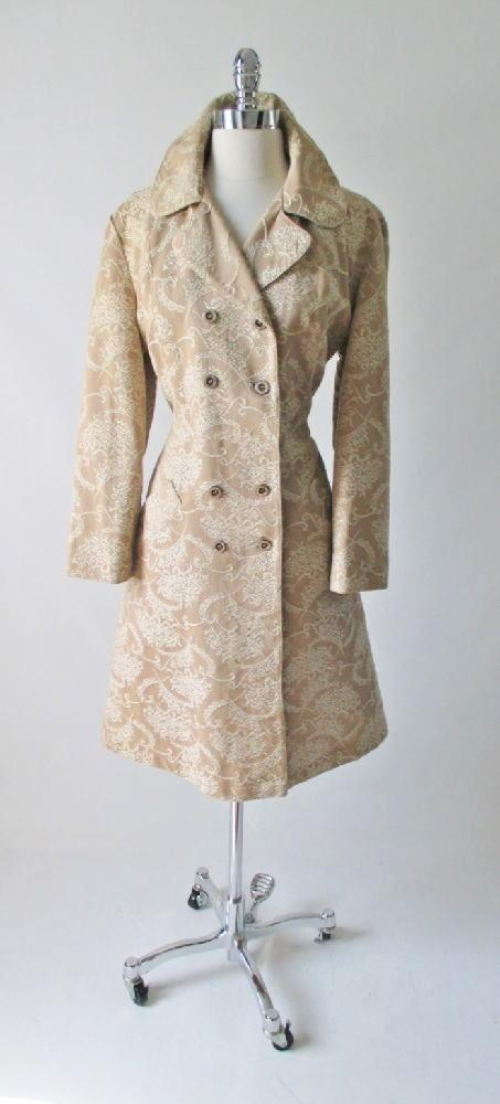 60's damask brocade gold evening special occasion formal princess cut vintage wedding jacket coat gallery