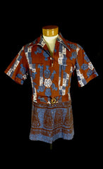 Rare Vintage Iolani Red Bark Cloth Zip Front Belted Tribal Print Hawaiian Shirt - Bombshell Bettys Vintage