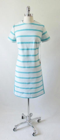Vintage 60's Blue Stripe MOD Colorblock Shift Dress NWT M