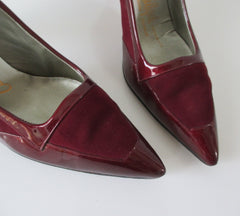 Vintage 60's Deep Red Suede & Patent Leather Pumps Heels Shoes 10.5 - Bombshell Bettys Vintage