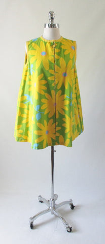 Vintage 60's MOD Flower Power Gogo Tunic Trapeze Tent Mini Dress M