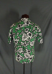 Vintage Green RJC Cotton Bark Cloth Classic Hibiscus Print Hawaiian Shirt - XL back