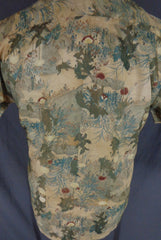 Vintage 70s Liberty House Green Earthtone Asian Floral Print Hawaiian Shirt - 48 rear detail