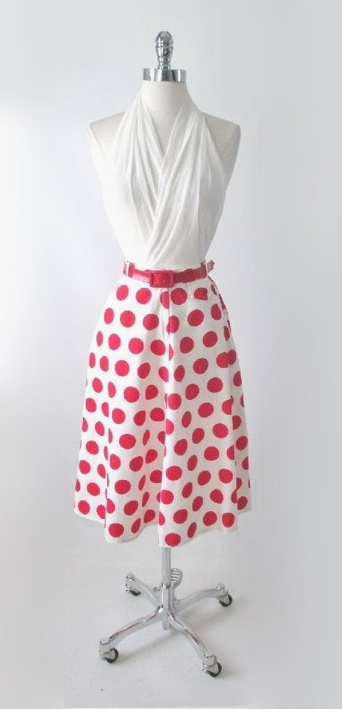 Vintage 70's 40's  White Red Polka Dot A Line Swing Skirt S - Bombshell Bettys Vintage