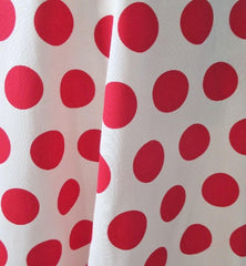 vintage 70's 40's white red polka dot a line swing skirt bombshell bettys vintage swatch fabric