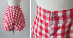 70's 40's vintage red white gingham shorts button