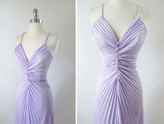 • Vintage 70's 50's 50's Travilla / Marilyn Style Accordion Pleat Lilac Purple Evening Cocktail Party Dress S - Bombshell Bettys Vintage