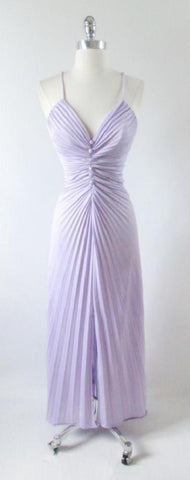 Vintage 70's 50's 50's Travilla / Marilyn Style Accordion Pleat Lilac Purple Evening Cocktail Party Dress S