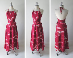 vintage 80's red hawaiian wrap maxi halter dress full
