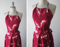 vintage 80's red hawaiian wrap maxi halter dress bodice