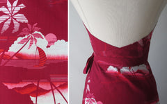vintage 80's red hawaiian wrap maxi halter dress details