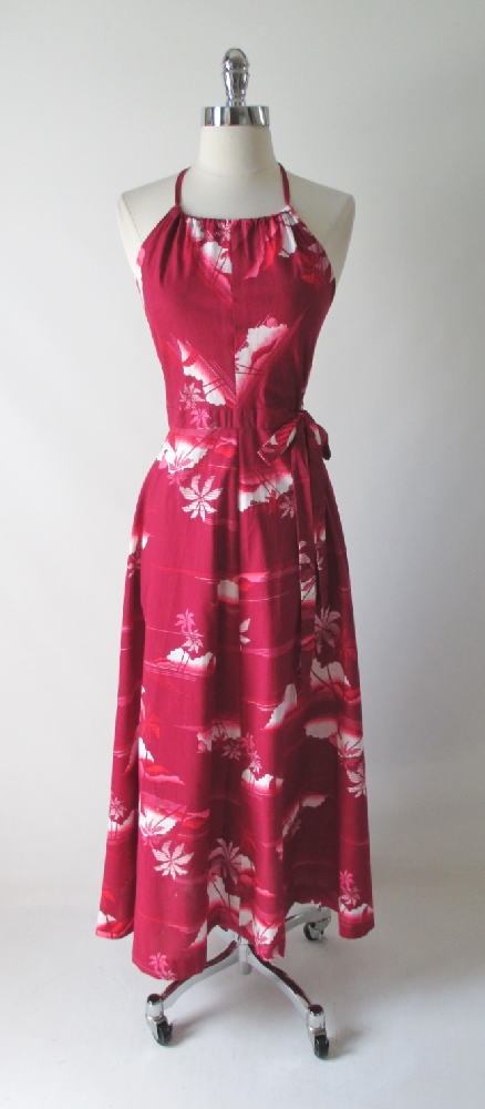 vintage 80's red hawaiian wrap maxi halter dress gallery