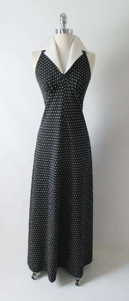 Vintage 70's Polka Dot Halter Maxi Dress Full Length Gown gallery