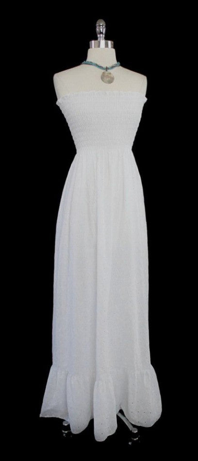 70's white eyelet maxi strapless tube top hippie dress gallery