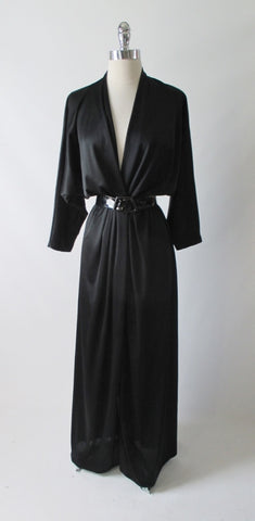 Vintage 80's Inky Black Silky Evening Gown Dress L