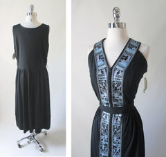 Vintage 70's Alfred Shaheen Black Egyptian Revival Hawaiian Day Dress New 1X 18 - Bombshell Bettys Vintage