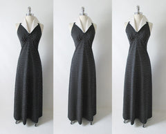 Vintage 70's Polka Dot Halter Maxi Dress Full Length Gown full