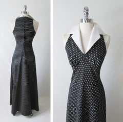 Vintage 70's Polka Dot Halter Maxi Dress Full Length Gown back