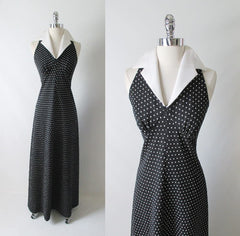 Vintage 70's Polka Dot Halter Maxi Dress Full Length Gown gallery alt