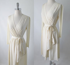 Vintage 70's 40's Style Cream Crepe Long Sleeve Day Dress M - Bombshell Bettys Vintage