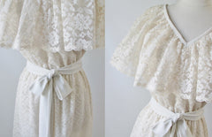 • Vintage 70's  Cream Lace Ruffled Special Occasion Party Dress - Bombshell Bettys Vintage