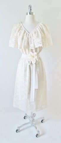 Vintage 70's  Cream Lace Ruffled Special Occasion Party Dress