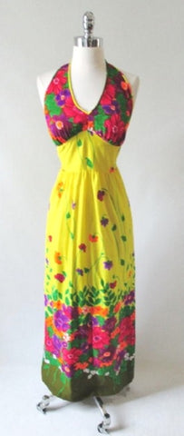 Vintage 70's Flower Power Halter Dress New W Tags M
