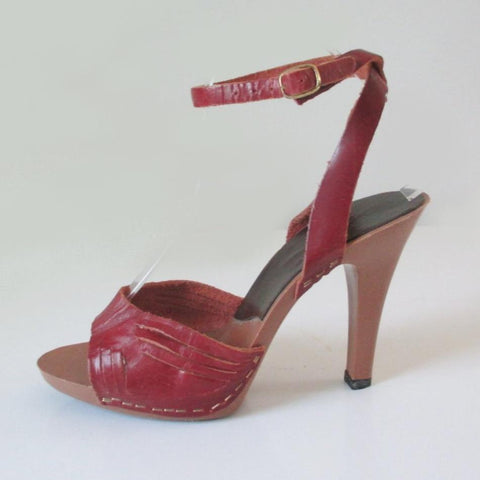Vintage 70's Candies Red Oxblood Leather Ankle Strap Heels
