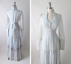 70's light blue lace up vintage gunne sax peasant prarie gown dress back