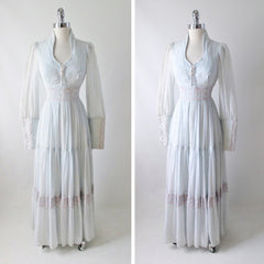 70's light blue lace up vintage gunne sax peasant prarie gown dress full