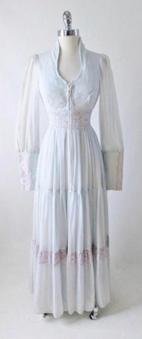 Vintage 70's Ice Light Blue Gunne Sax Romantic Peasant Dress Gown S