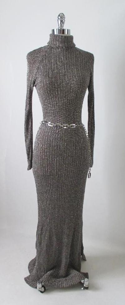 70's knit sweater lurex shimmer full length dress gown gallery