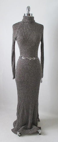 Vintage 70's Curve Hugging Shimmering Knit Sweater Dress M