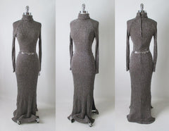 70's knit sweater lurex shimmer full length dress gown back