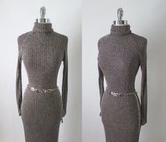 Vintage 70's Curve Hugging Shimmering Knit Sweater Dress M - Bombshell Bettys Vintage