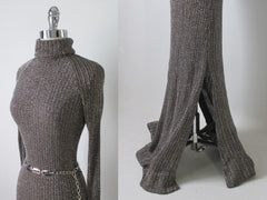 70's knit sweater lurex shimmer full length dress gown detail