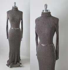 70's knit sweater lurex shimmer full length dress gown full