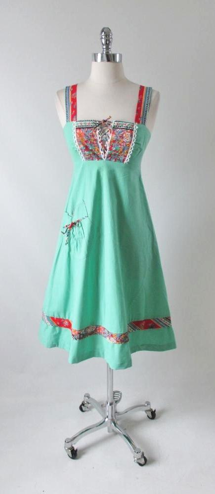Vintage 70's Mint Green Lace Up Front A Line Sundress Hippy Dress XS - Bombshell Bettys Vintage