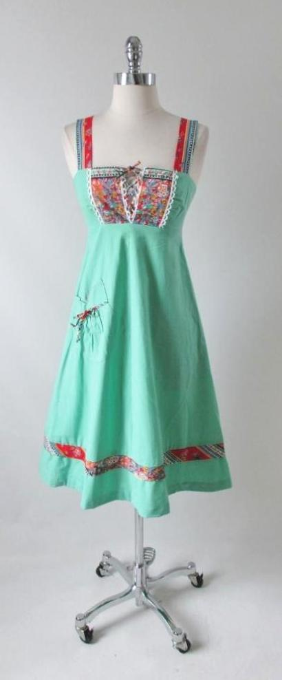 Vintage 70's Green Lace Up Flower Hippie Dress XXS - Bombshell Bettys Vintage