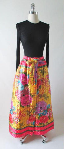 Vintage 70's Quilted Ornate Flower Scarf Print Full Length Maxi Skirt M/L