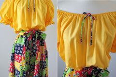 • Vintage 70's Yellow Off Shoulder Patchwork Wide Leg Palazzo Jumpsuit M/L - Bombshell Bettys Vintage
