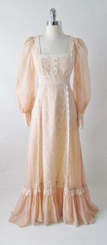 Vintage 70's Gunne Sax Sheer Peach & Lace Gown Prarie Dress XS