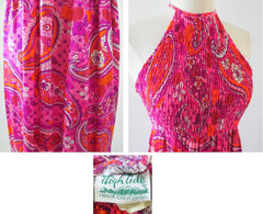 Vintage 60's 70's Psy Paisley Smocked Halter Dress M - Bombshell Bettys Vintage