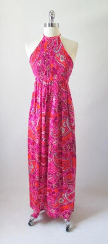 Vintage 60's 70's Psy Paisley Smocked Halter Dress M