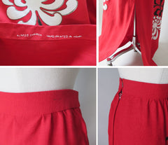 vintage alfred shaheen red linen full lenght painted skirt details