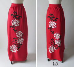 vintage alfred shaheen red linen full lenght painted skirt full