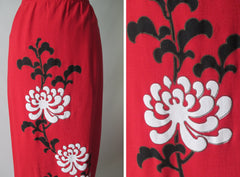 vintage alfred shaheen red linen full lenght painted skirt flower