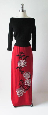 Vintage 70's Alfred Shaheen Red Linen Long Maxi Skirt L